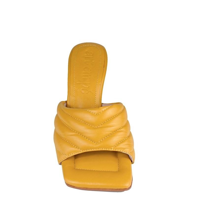 Tamanco Sasha Salto Taça Baixo Amarelo Couro 0-109