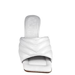 Tamanco Sasha Salto Taça Baixo Branco Couro 0-109