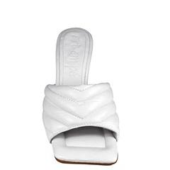 Tamanco Sasha Salto Taça Branco Couro 5-109