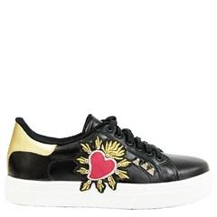 Tênis Dolce & Gabbana Inspired em Couro Preto com Coração 40154