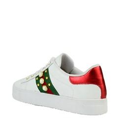 Tênis Gucci Inspired com Pérolas em Couro Branco 40046