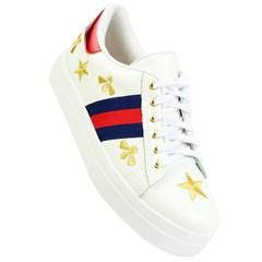 Tênis Gucci Inspired em Couro Branco com Abelhas e Estrelas 40084