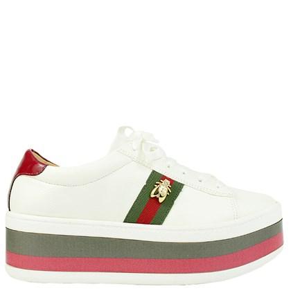 Tênis Gucci Inspired Flatform em Napa Branco com Abelha 551