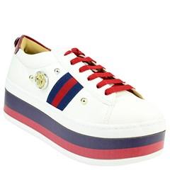 ... Tênis Gucci Inspired Flatform em Napa Branco e Azul 0559 a8df0e41fe7