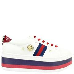 Tênis Gucci Inspired Flatform em Napa Branco e Azul 0559