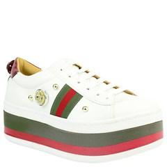 ... Tênis Gucci Inspired Flatform em Napa Branco e Verde 0559 81e20a03fd9