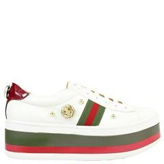 Tênis Gucci Inspired Flatform em Napa Branco e Verde 0559